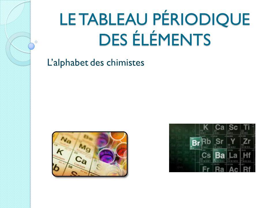 LE TABLEAU PÉRIODIQUE DES ÉLÉMENTS L'alphabet des chimistes
