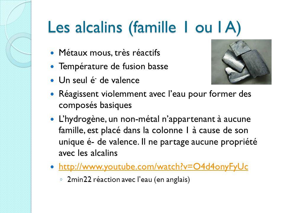 Les alcalins (famille 1 ou I A) Métaux mous, très réactifs Température de fusion basse Un seul é - de valence Réagissent violemment avec l'eau pour former des composés basiques L'hydrogène, un non-métal n'appartenant à aucune famille, est placé dans la colonne 1 à cause de son unique é- de valence.