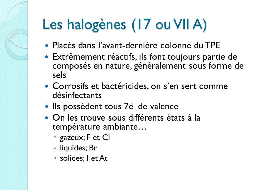 Les halogènes (17 ou VII A) Placés dans l'avant-dernière colonne du TPE Extrêmement réactifs, ils font toujours partie de composés en nature, généralement sous forme de sels Corrosifs et bactéricides, on s'en sert comme désinfectants Ils possèdent tous 7é - de valence On les trouve sous différents états à la température ambiante… ◦ gazeux; F et Cl ◦ liquides; Br ◦ solides; I et At