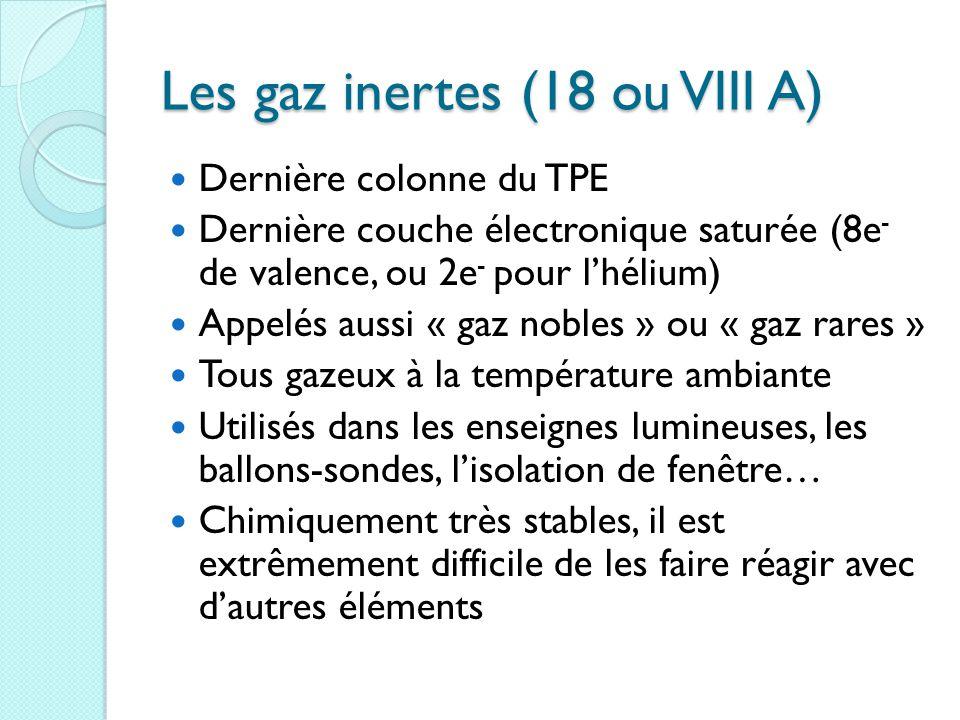 Les gaz inertes (18 ou VIII A) Dernière colonne du TPE Dernière couche électronique saturée (8e - de valence, ou 2e - pour l'hélium) Appelés aussi « gaz nobles » ou « gaz rares » Tous gazeux à la température ambiante Utilisés dans les enseignes lumineuses, les ballons-sondes, l'isolation de fenêtre… Chimiquement très stables, il est extrêmement difficile de les faire réagir avec d'autres éléments