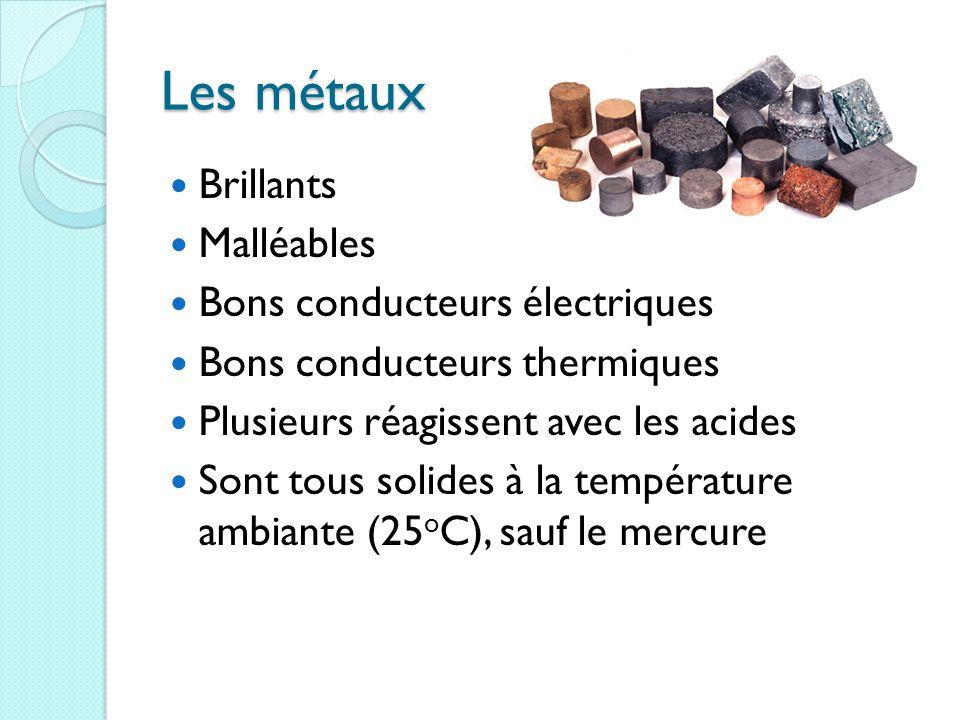 Les métaux Brillants Malléables Bons conducteurs électriques Bons conducteurs thermiques Plusieurs réagissent avec les acides Sont tous solides à la température ambiante (25 o C), sauf le mercure