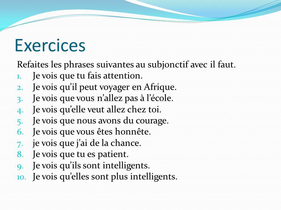 Exercices Refaites les phrases suivantes au subjonctif avec il faut. 1. Je vois que tu fais attention. 2. Je vois qu'il peut voyager en Afrique. 3. Je