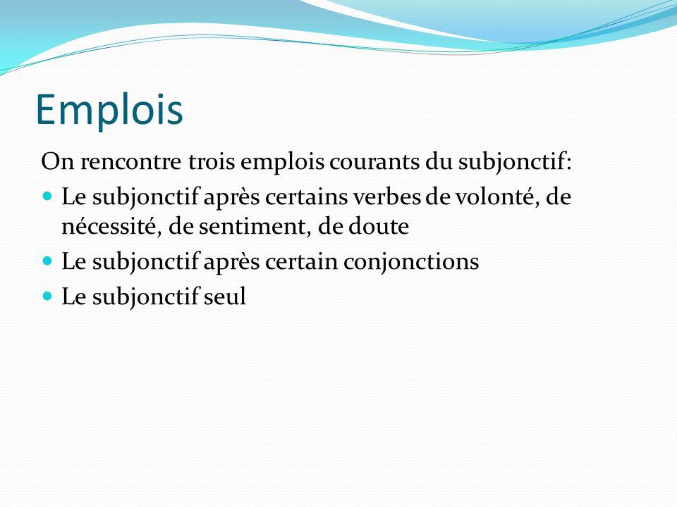 Emplois On rencontre trois emplois courants du subjonctif: Le subjonctif après certains verbes de volonté, de nécessité, de sentiment, de doute Le subjonctif après certain conjonctions Le subjonctif seul