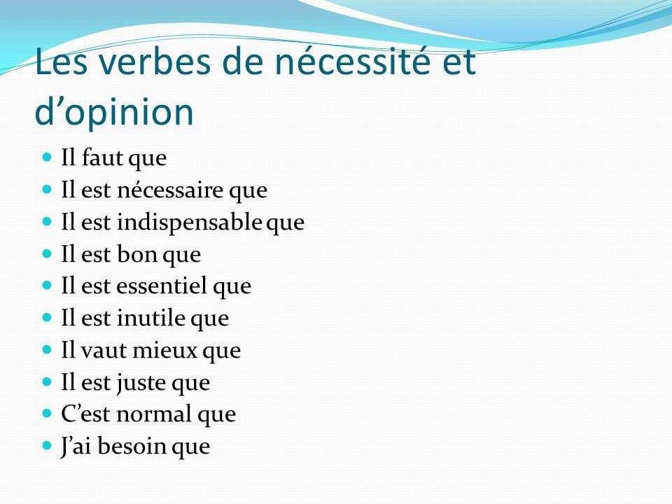 Les verbes de nécessité et d'opinion Il faut que Il est nécessaire que Il est indispensable que Il est bon que Il est essentiel que Il est inutile que