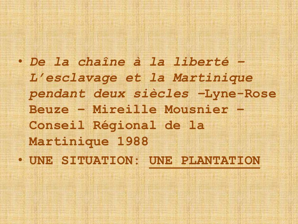 De la chaîne à la liberté – L'esclavage et la Martinique pendant deux siècles –Lyne-Rose Beuze – Mireille Mousnier – Conseil Régional de la Martinique