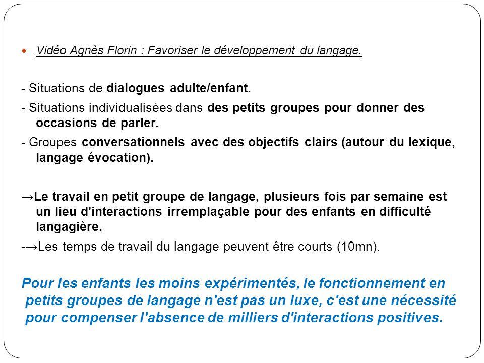 Vidéo Agnès Florin : Favoriser le développement du langage. - Situations de dialogues adulte/enfant. - Situations individualisées dans des petits grou