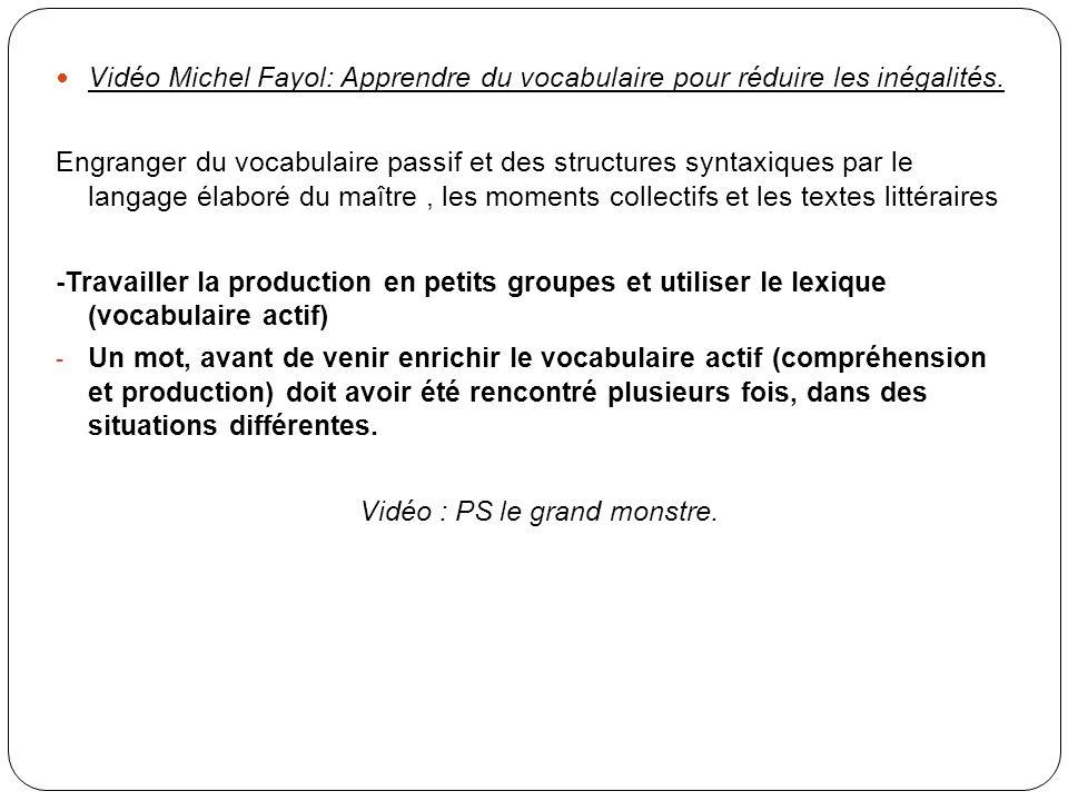Vidéo Michel Fayol: Apprendre du vocabulaire pour réduire les inégalités. Engranger du vocabulaire passif et des structures syntaxiques par le langage