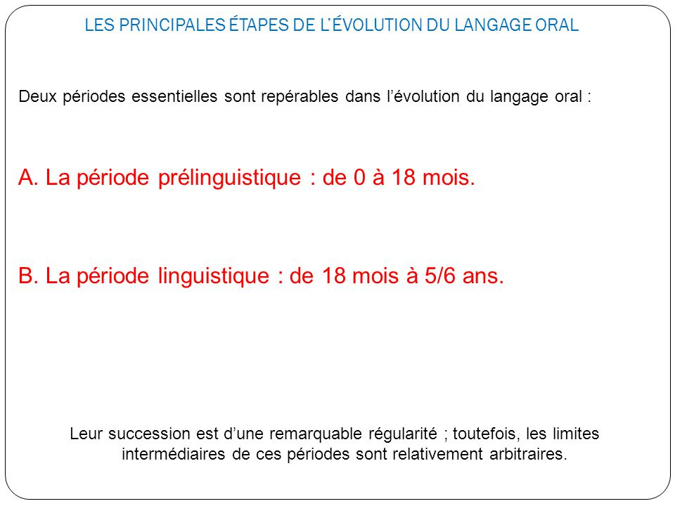 LES PRINCIPALES ÉTAPES DE L'ÉVOLUTION DU LANGAGE ORAL Deux périodes essentielles sont repérables dans l'évolution du langage oral : A. La période prél