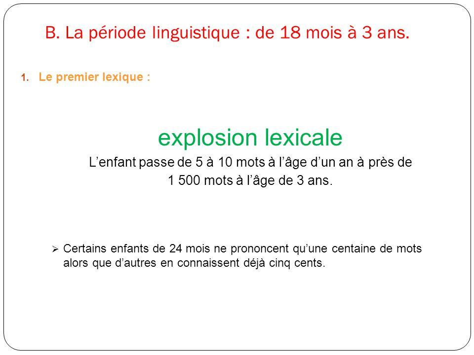 B. La période linguistique : de 18 mois à 3 ans. 1. Le premier lexique : explosion lexicale L'enfant passe de 5 à 10 mots à l'âge d'un an à près de 1