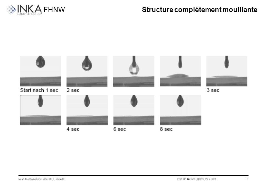 FHNW 26.9.2008Neue Technologien für innovative ProdukteProf. Dr. Clemens Holzer, 11 Structure complètement mouillante
