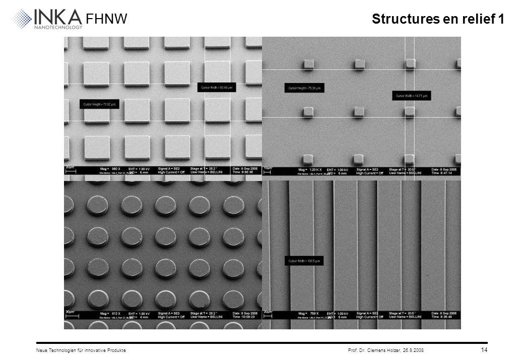 FHNW 26.9.2008Neue Technologien für innovative ProdukteProf. Dr. Clemens Holzer, 14 Structures en relief 1