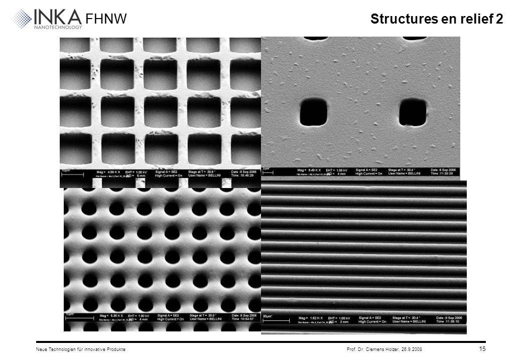 FHNW 26.9.2008Neue Technologien für innovative ProdukteProf. Dr. Clemens Holzer, 15 Structures en relief 2