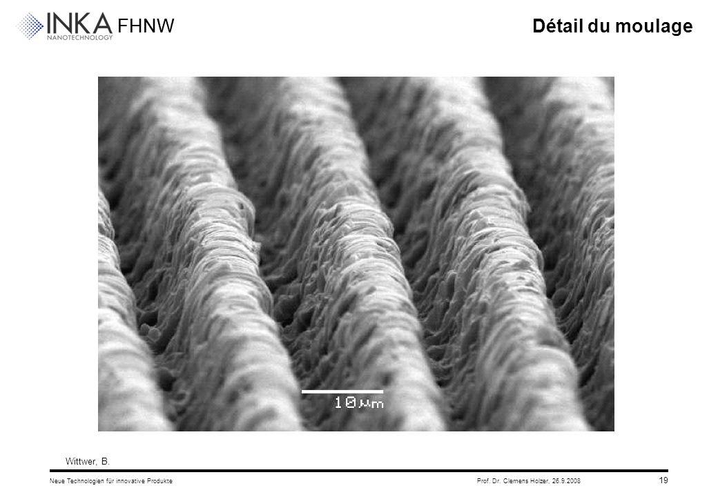 FHNW 26.9.2008Neue Technologien für innovative ProdukteProf. Dr. Clemens Holzer, 19 Détail du moulage Wittwer, B.