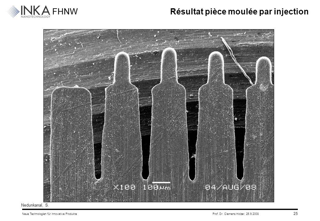 FHNW 26.9.2008Neue Technologien für innovative ProdukteProf. Dr. Clemens Holzer, 25 Résultat pièce moulée par injection Nedunkanal, S.