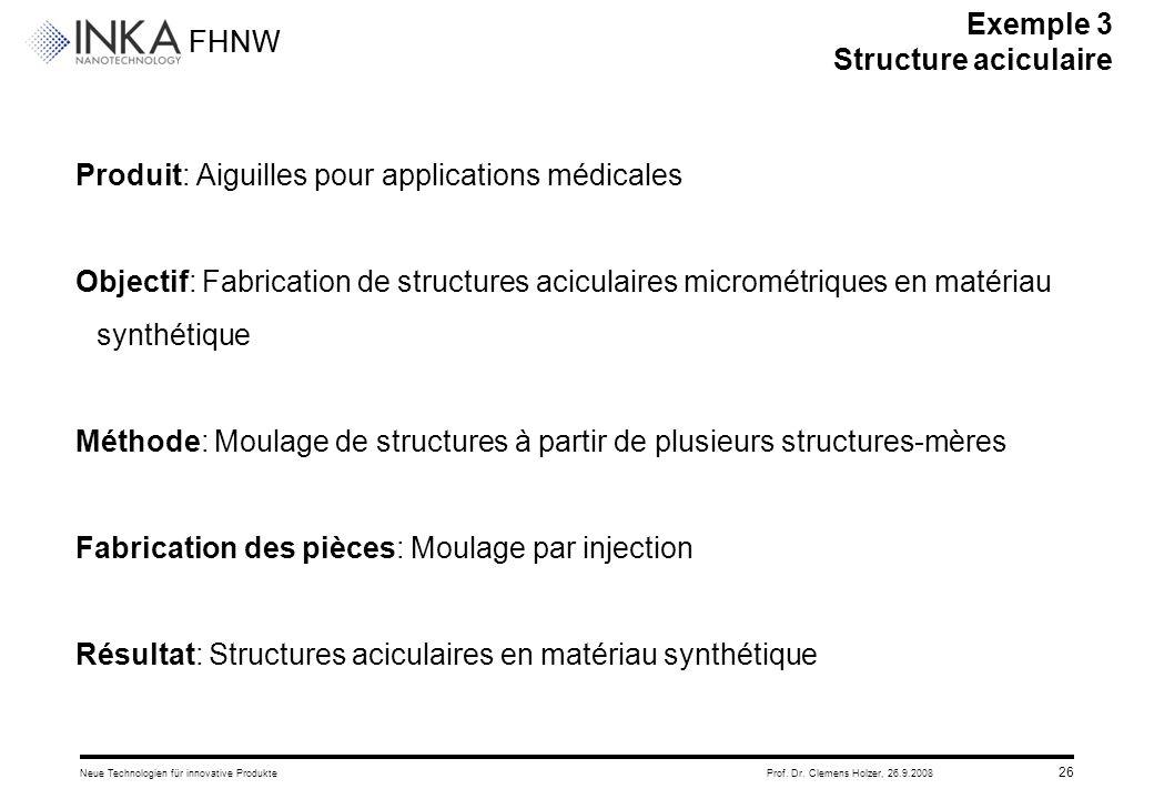 FHNW 26.9.2008Neue Technologien für innovative ProdukteProf. Dr. Clemens Holzer, 26 Produit: Aiguilles pour applications médicales Objectif: Fabricati