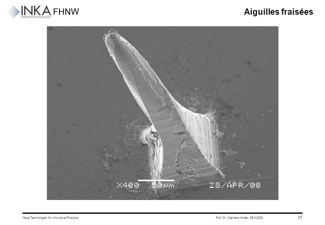 FHNW 26.9.2008Neue Technologien für innovative ProdukteProf. Dr. Clemens Holzer, 27 Aiguilles fraisées