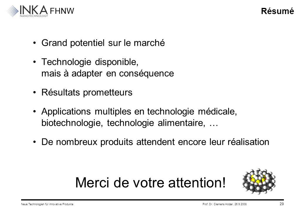 FHNW 26.9.2008Neue Technologien für innovative ProdukteProf. Dr. Clemens Holzer, 29 Résumé Grand potentiel sur le marché Technologie disponible, mais