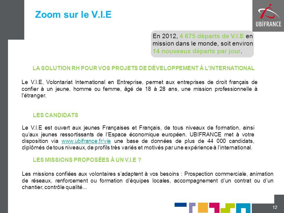 Zoom sur le V.I.E 12 Les missions confiées aux volontaires s'adaptent à vos besoins : Prospection commerciale, animation de réseaux, renforcement ou f