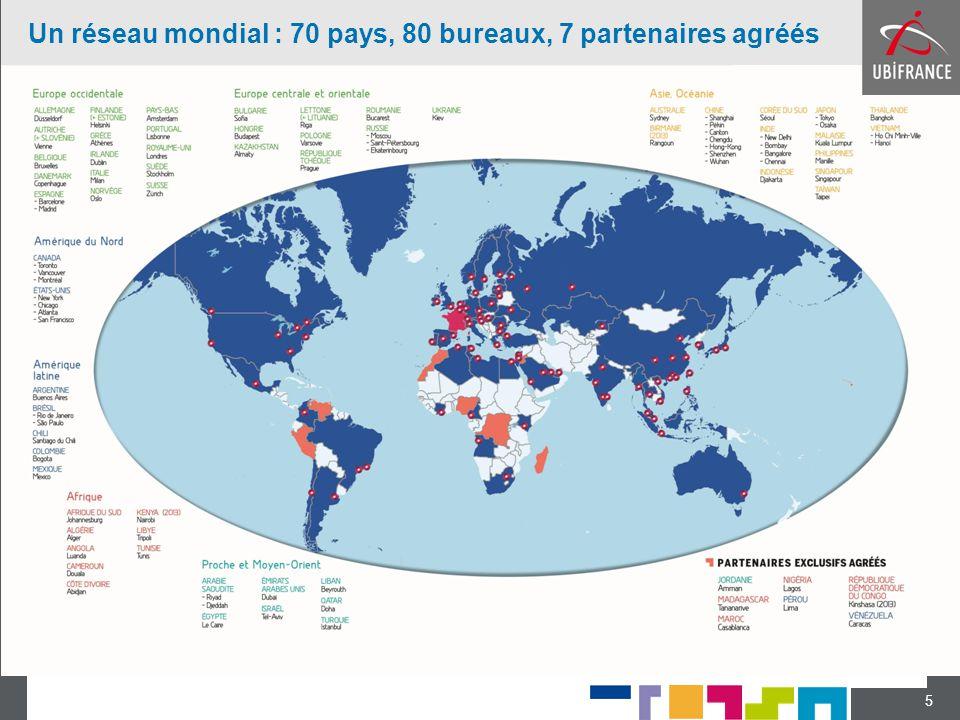 5 Un réseau mondial : 70 pays, 80 bureaux, 7 partenaires agréés