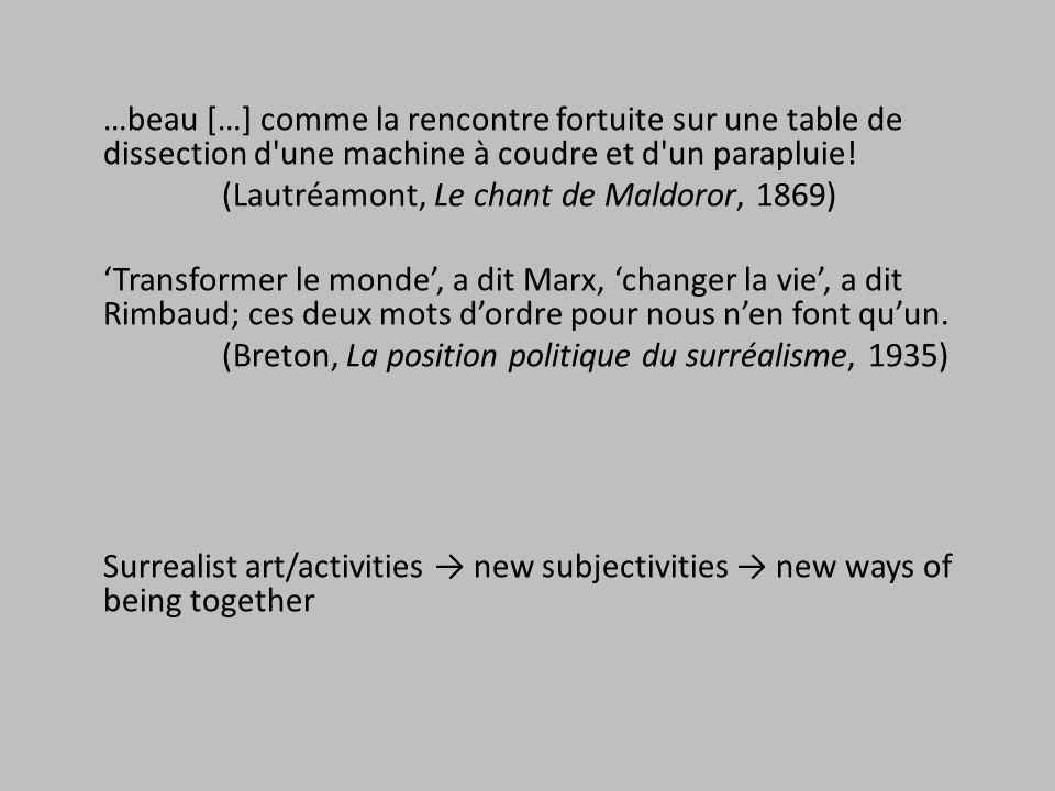 …beau […] comme la rencontre fortuite sur une table de dissection d'une machine à coudre et d'un parapluie! (Lautréamont, Le chant de Maldoror, 1869)