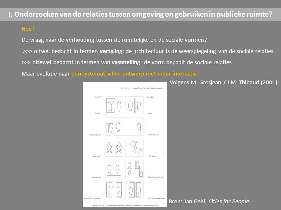 I. Onderzoeken van de relaties tussen omgeving en gebruiken in publieke ruimte? Hoe? De vraag naar de verhouding tussen de ruimtelijke en de sociale v