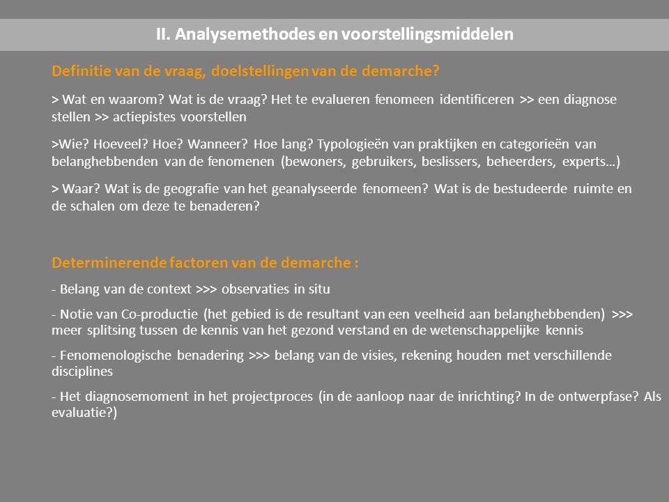 Fases van de démarche : Uitwerking van de methodologie (keuze van de methode, perimeter van de studie, de staal…) >>> voorbereidende interviews, methodes testen >>> opmetingen, verzamelen van gegevens, informatie >>> verwerking, tentoonstelling en confrontatie/ modelisatie, synthese en conclusies >>> acties II.