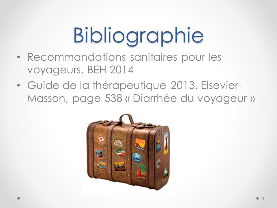 Bibliographie Recommandations sanitaires pour les voyageurs, BEH 2014 Guide de la thérapeutique 2013, Elsevier- Masson, page 538 « Diarrhée du voyageu