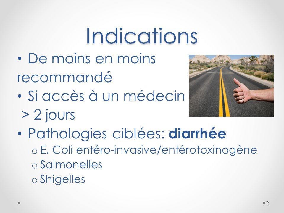 Indications De moins en moins recommandé Si accès à un médecin > 2 jours Pathologies ciblées: diarrhée o E. Coli entéro-invasive/entérotoxinogène o Sa