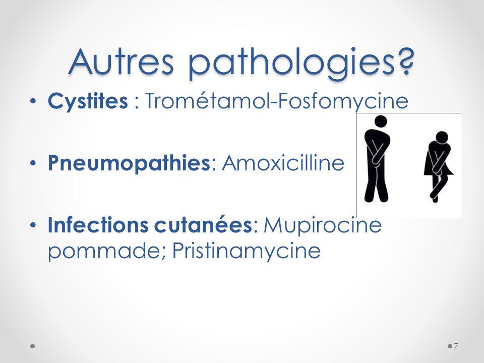 Autres pathologies? Cystites : Trométamol-Fosfomycine Pneumopathies : Amoxicilline Infections cutanées : Mupirocine pommade; Pristinamycine 7