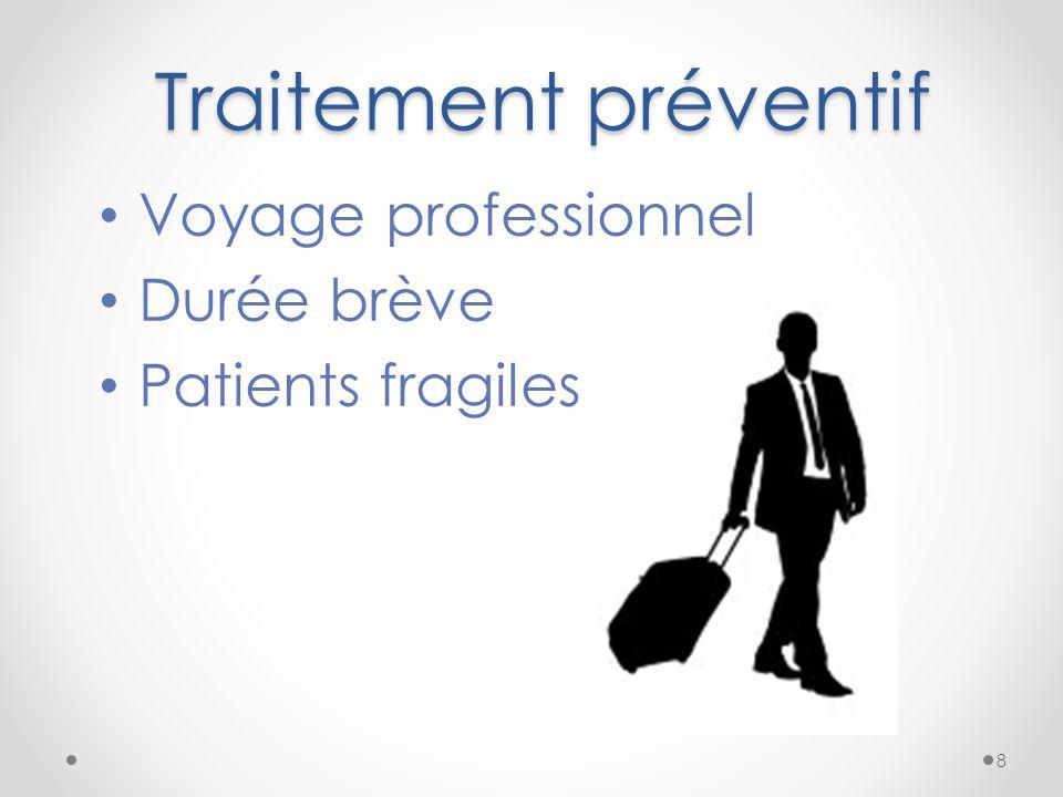 Traitement préventif Voyage professionnel Durée brève Patients fragiles 8