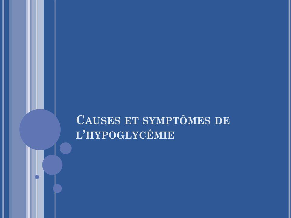 C AUSES ET SYMPTÔMES DE L ' HYPOGLYCÉMIE