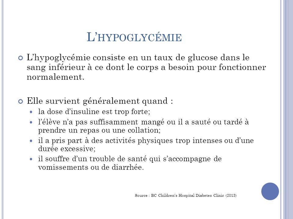 L' HYPOGLYCÉMIE L'hypoglycémie consiste en un taux de glucose dans le sang inférieur à ce dont le corps a besoin pour fonctionner normalement.