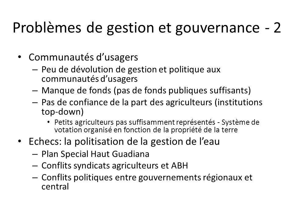 Problèmes de gestion et gouvernance - 2 Communautés d'usagers – Peu de dévolution de gestion et politique aux communautés d'usagers – Manque de fonds