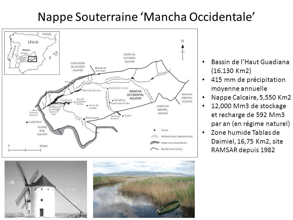 Nappe Souterraine 'Mancha Occidentale' Bassin de l'Haut Guadiana (16.130 Km2) 415 mm de précipitation moyenne annuelle Nappe Calcaire, 5,550 Km2 12,000 Mm3 de stockage et recharge de 592 Mm3 par an (en régime naturel) Zone humide Tablas de Daimiel, 16,75 Km2, site RAMSAR depuis 1982