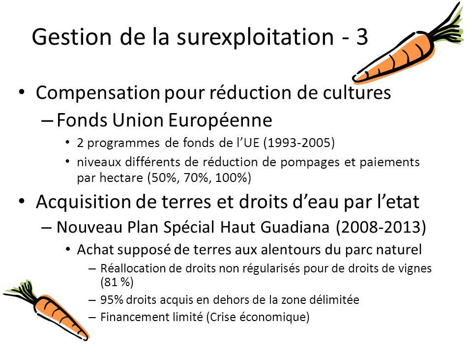 Compensation pour réduction de cultures – Fonds Union Européenne 2 programmes de fonds de l'UE (1993-2005) niveaux différents de réduction de pompages et paiements par hectare (50%, 70%, 100%) Acquisition de terres et droits d'eau par l'etat – Nouveau Plan Spécial Haut Guadiana (2008-2013) Achat supposé de terres aux alentours du parc naturel – Réallocation de droits non régularisés pour de droits de vignes (81 %) – 95% droits acquis en dehors de la zone délimitée – Financement limité (Crise économique) Gestion de la surexploitation - 3