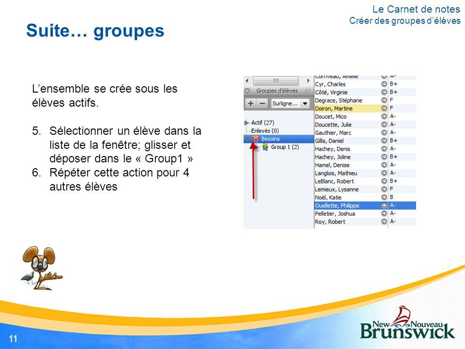 Suite… groupes L'ensemble se crée sous les élèves actifs. 5.Sélectionner un élève dans la liste de la fenêtre; glisser et déposer dans le « Group1 » 6