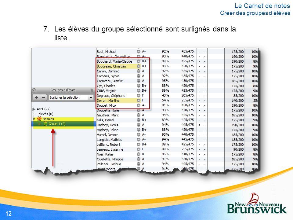 7.Les élèves du groupe sélectionné sont surlignés dans la liste.