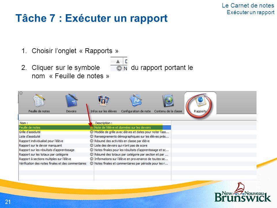 Tâche 7 : Exécuter un rapport 1.Choisir l'onglet « Rapports » 2.Cliquer sur le symbole du rapport portant le nom « Feuille de notes » Le Carnet de notes Exécuter un rapport 21
