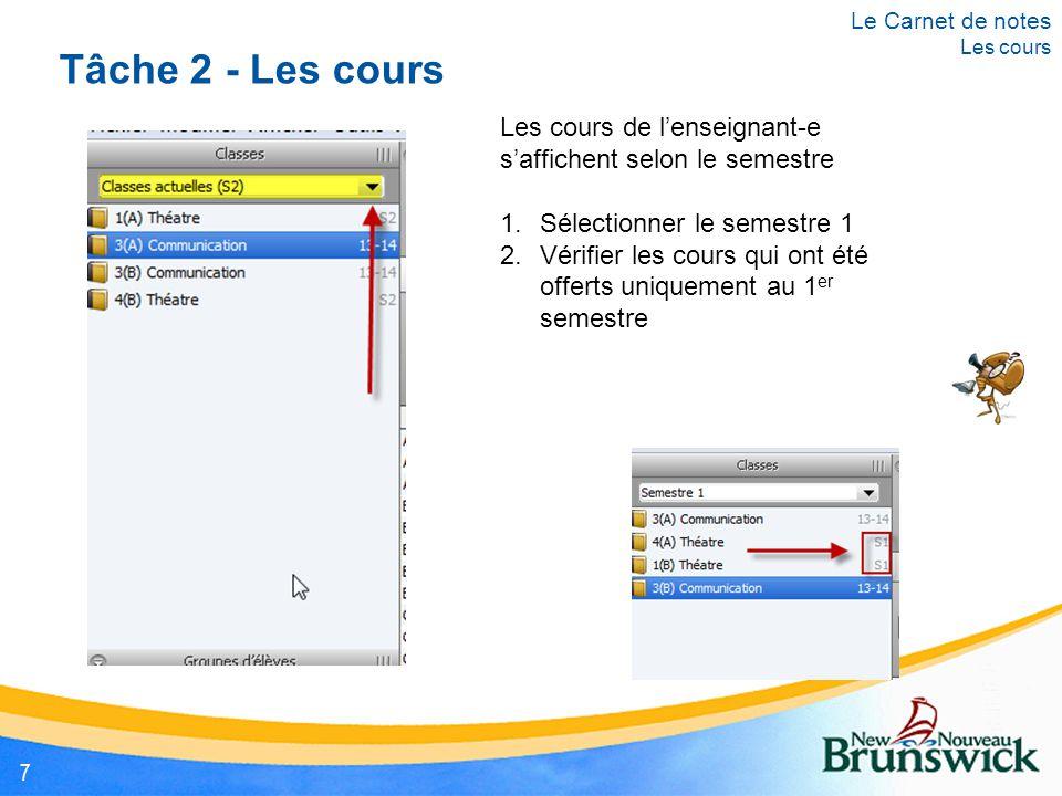 Tâche 2 - Les cours Les cours de l'enseignant-e s'affichent selon le semestre 1.Sélectionner le semestre 1 2.Vérifier les cours qui ont été offerts un