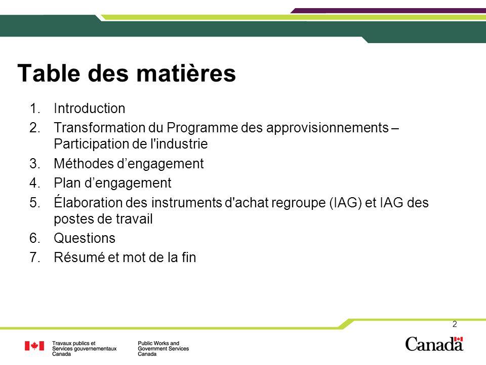 2 Table des matières 1.Introduction 2.Transformation du Programme des approvisionnements – Participation de l'industrie 3.Méthodes d'engagement 4.Plan