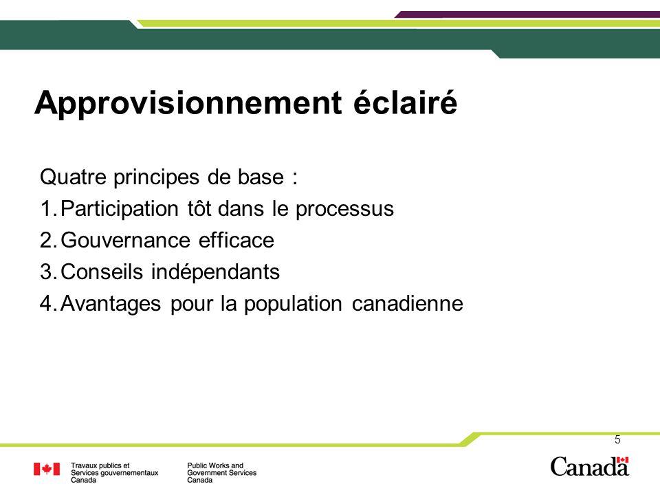 Quatre principes de base : 1.Participation tôt dans le processus 2.Gouvernance efficace 3.Conseils indépendants 4.Avantages pour la population canadie
