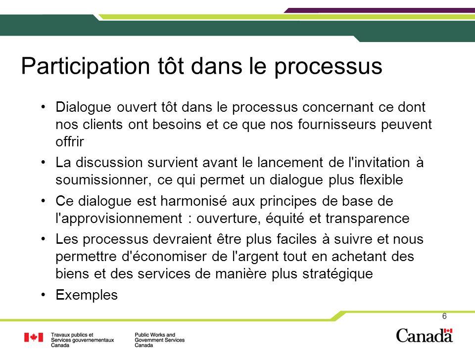 Participation tôt dans le processus Dialogue ouvert tôt dans le processus concernant ce dont nos clients ont besoins et ce que nos fournisseurs peuven