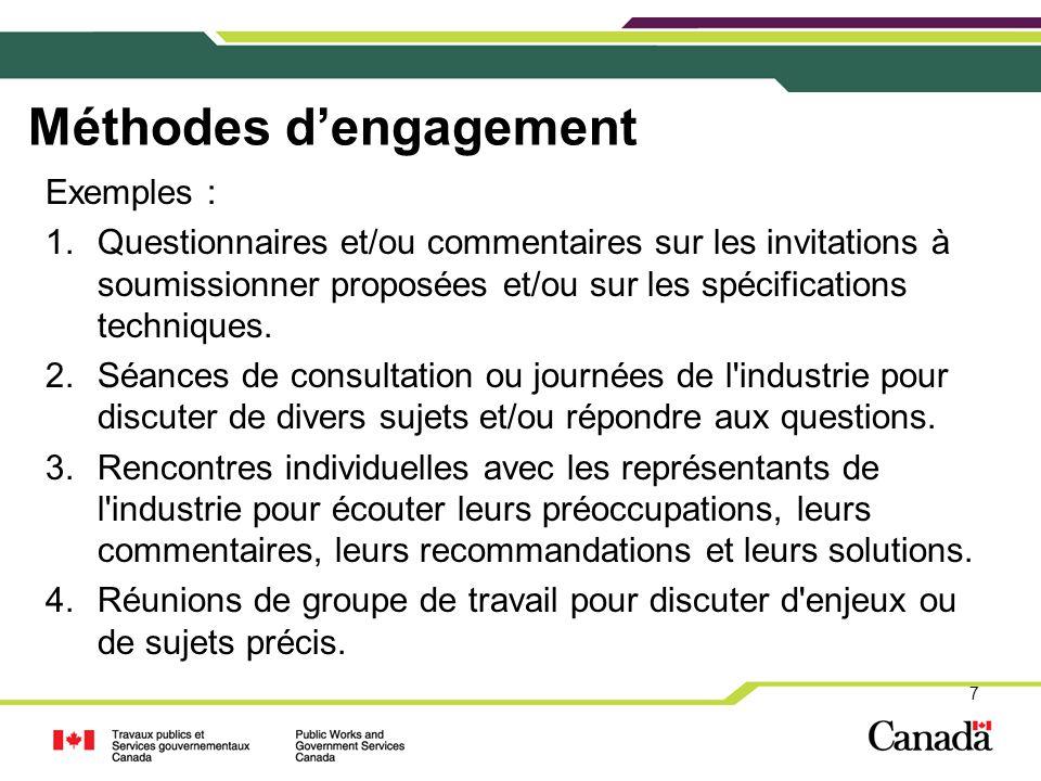 Méthodes d'engagement Exemples : 1.Questionnaires et/ou commentaires sur les invitations à soumissionner proposées et/ou sur les spécifications techni