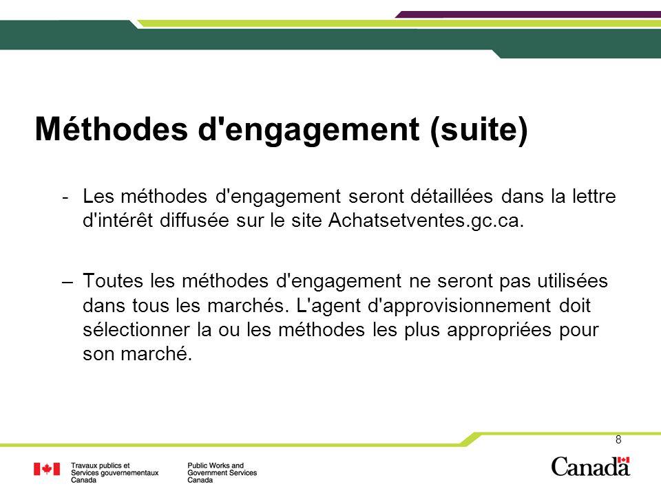 Méthodes d'engagement (suite) -Les méthodes d'engagement seront détaillées dans la lettre d'intérêt diffusée sur le site Achatsetventes.gc.ca. –Toutes