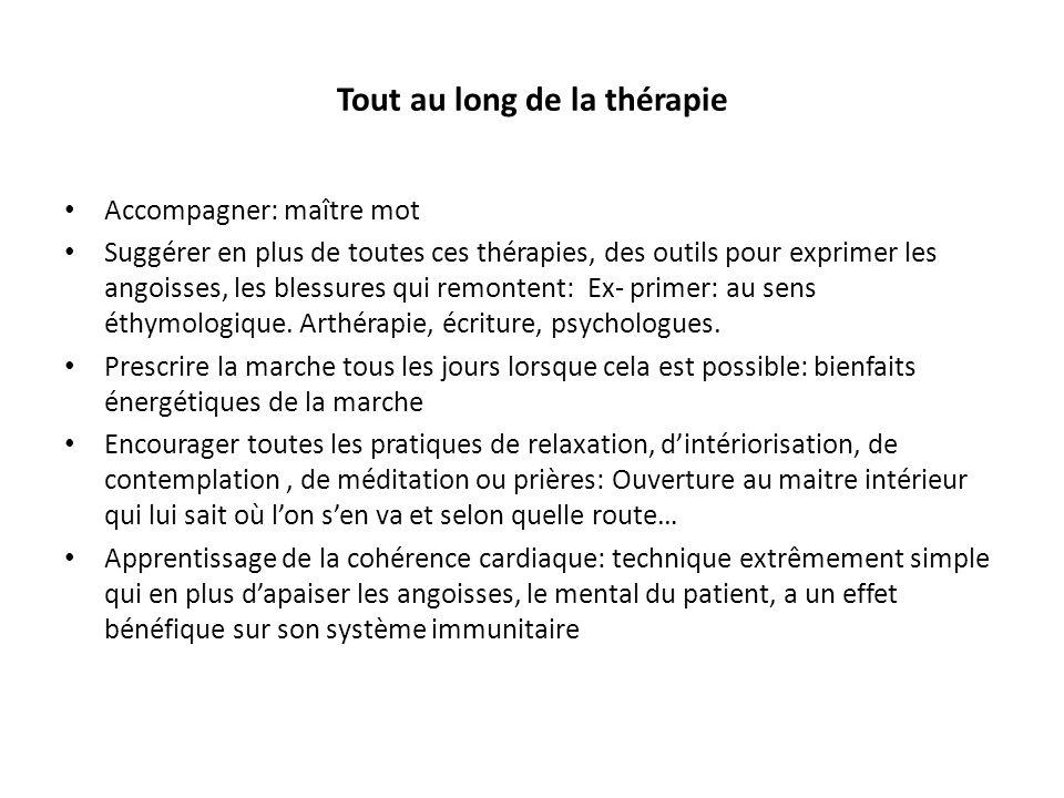 Tout au long de la thérapie Accompagner: maître mot Suggérer en plus de toutes ces thérapies, des outils pour exprimer les angoisses, les blessures qu
