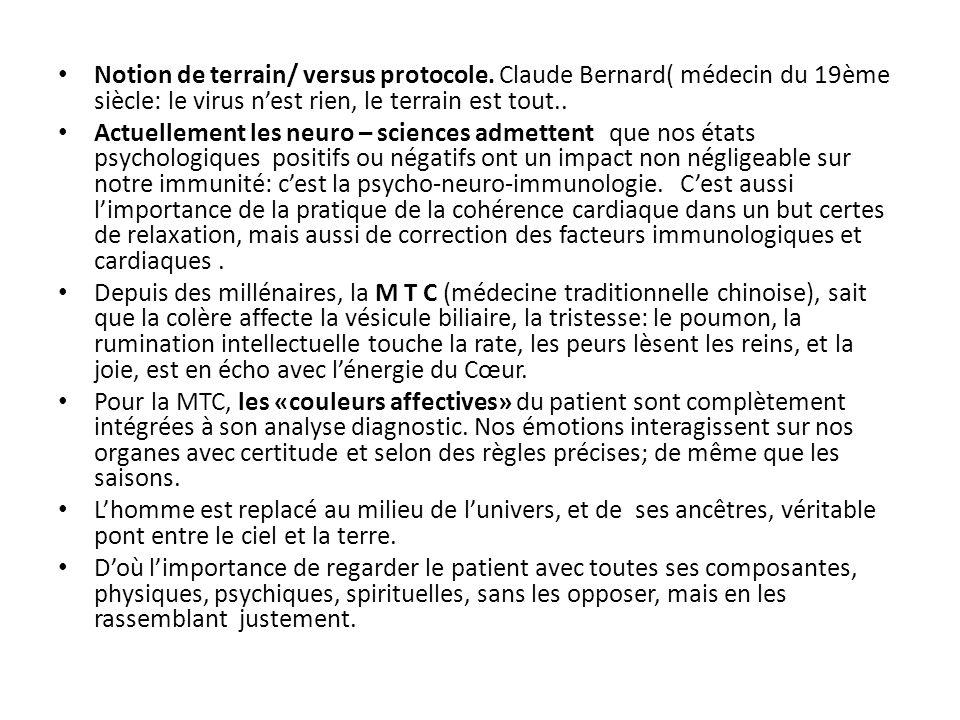 Notion de terrain/ versus protocole. Claude Bernard( médecin du 19ème siècle: le virus n'est rien, le terrain est tout.. Actuellement les neuro – scie