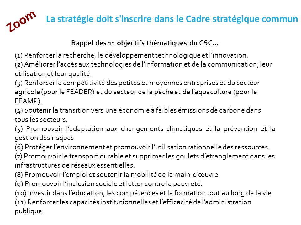  Rappel des 11 objectifs thématiques du CSC... (1) Renforcer la recherche, le développement technologique et l'innovation. (2) Améliorer l'accès aux