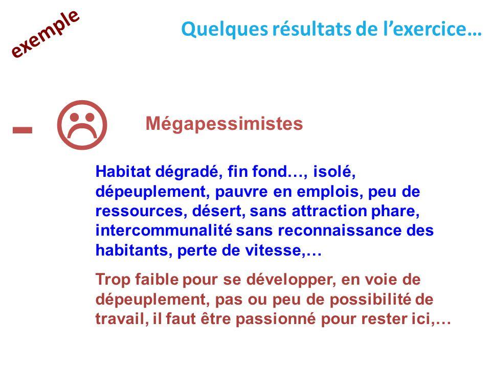 exemple Quelques résultats de l'exercice… -  Mégapessimistes Habitat dégradé, fin fond…, isolé, dépeuplement, pauvre en emplois, peu de ressources, d