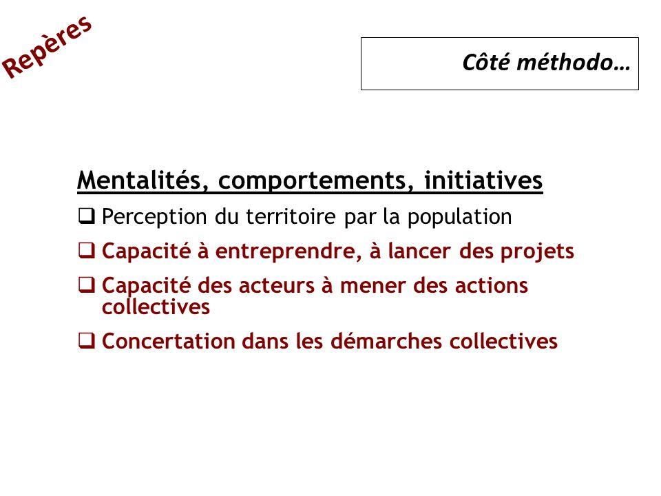 Mentalités, comportements, initiatives  Perception du territoire par la population  Capacité à entreprendre, à lancer des projets  Capacité des act