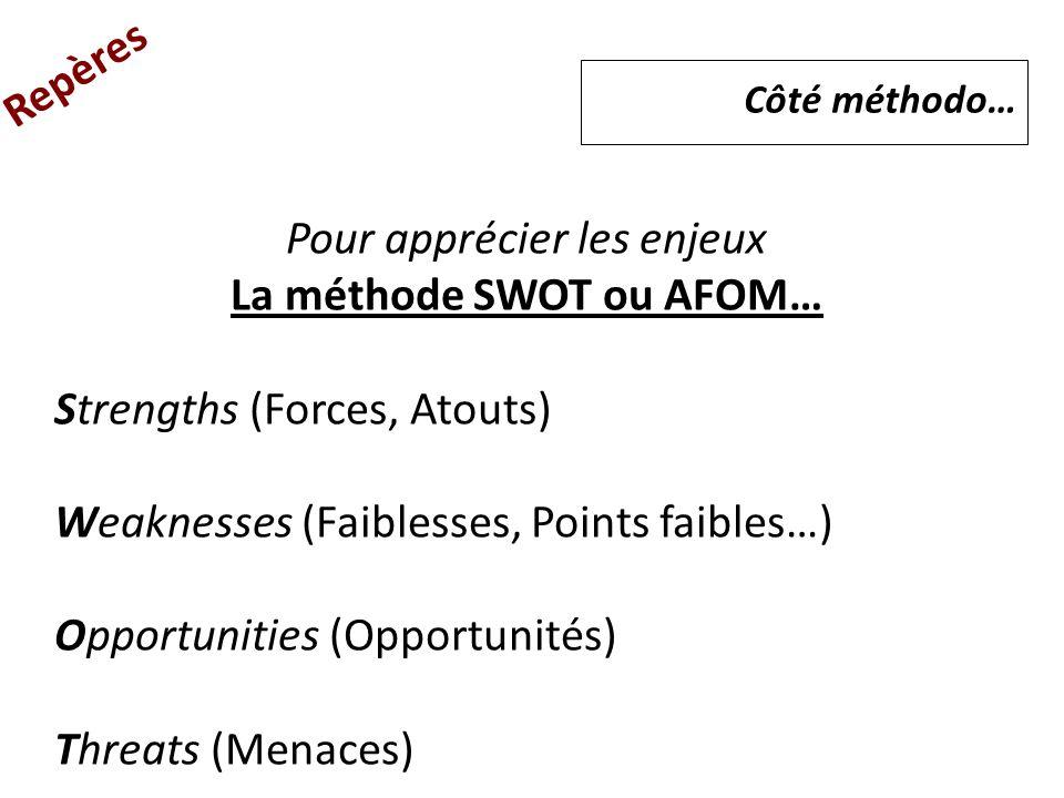 Repères Pour apprécier les enjeux La méthode SWOT ou AFOM… Strengths (Forces, Atouts) Weaknesses (Faiblesses, Points faibles…) Opportunities (Opportun